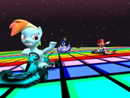Rainbow Dash on Rainbow Road by sp19047
