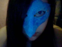 me wearing my goblin ballroom Mask (half finished) by EZZIELUVSDAVIDBOWIE
