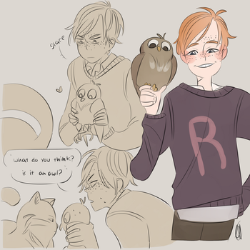 ron and little owl by eszart
