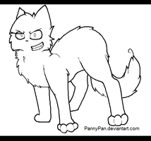 Angry/Insane Cat Lineart by PannyPan