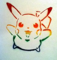 STENCILED RAINBOW PIKACHU :D by cat2198