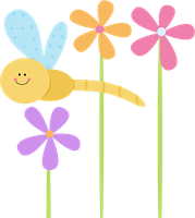 Cute Flowers and Dragonfly PNG by HanaBell1