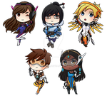 Overwatch Chibis by Lindajing