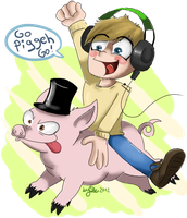 Go Piggeh Go! (Pewdiepie) by skrollmon