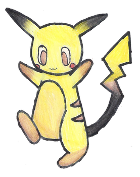 Old Style Pikachu by FluffyCloudBunny