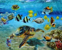 Hawaiian reef fish and sea turtle by veracauwenberghs
