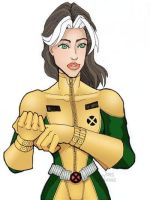 Rogue Fixing Her Glove by JamesLeung