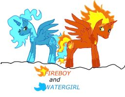 FIREBOY and WATERGIRL version pony by cynder45667