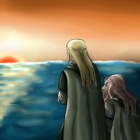 Legolas and Gimli by studdedangel