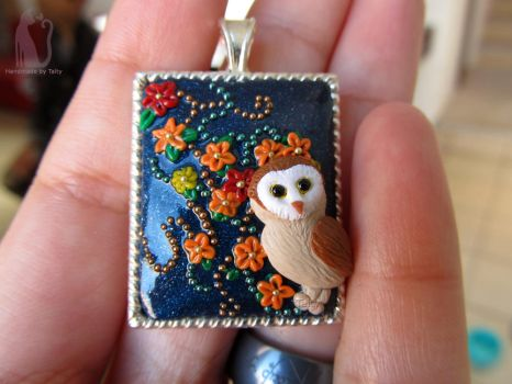 Polymer clay owl pendant by Talty