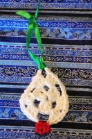 White Sparkle and Red Sparkle Crocheted Tree Ornam by AlleyKat666