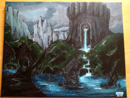 Castle painting by YamiLinkoftheLeaf