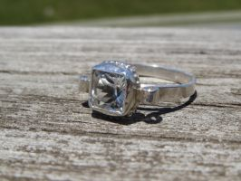 White topaz ring in Sterling silver by whippetgirl