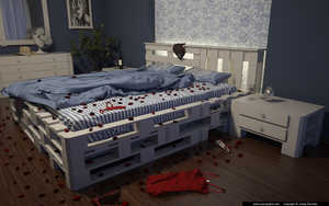Bedroom  From Pallets at night by slographic