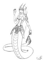 Lineart . Dragon snake by KijoFaia