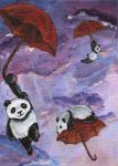 Flying Umbrella Pandas by sobeyondthis