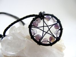 Amethyst and Flourite Pentacle by MoonLitCreations