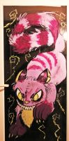 Cheshire Cat door painting by Kikitwou