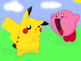 Pikachu and Kirby by Coonstito