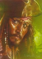 Captain Jack Sparrow - ACEO by JeffLafferty