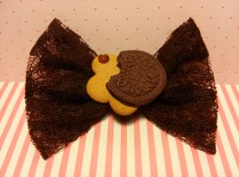 Chocolate Cookie Bow Hair Clip SOLD by ninja2of8