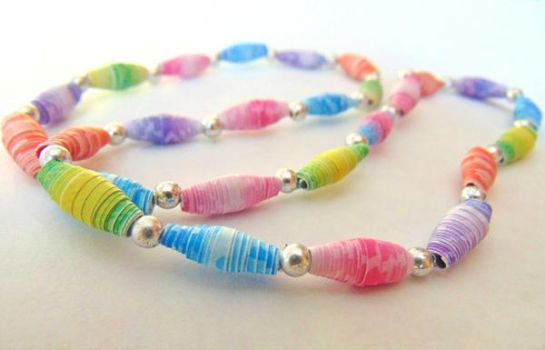 Spring Colors Paper Bead Necklace by SolarCrush