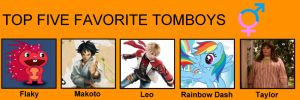 My top five favorite tomboys by porygon2z