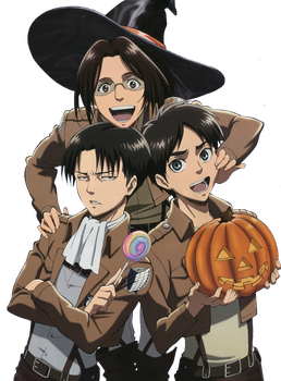 Hanji, Eren and Rivaille Render by lextranges