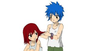 Young Erza and Jellal by tajamul666