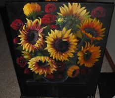 Sunflowers and Poppies by Arafelle