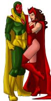 vision and scarlet witch by K-Laine