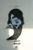 Lisa Lowlife Stencil on Wall by bookabooka