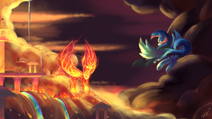 Commission: Cloudsdale Ablaze by Seyllah