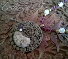 Amethyst and Shell Spiral Necklace by EnchantedTokenArt