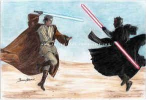 obi wan kenobi vs. darth maul by imFragrance
