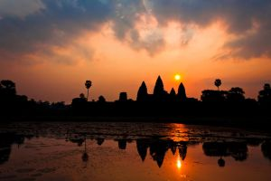Angkor Wat Sunrise Reflection by Niv24
