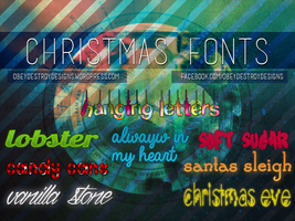 8 Christmas Fonts Bundle by ObeyDestroyDesigns