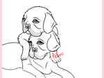 Lineart: Puppiesss by TheElementOfMagic