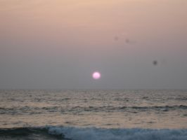 Beach Sunset Blurred by AbstractWater