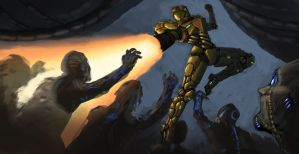 Samus vs Husk Horde by philzero