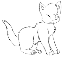 Cat Lineart -winking, sitting- by bethy2317