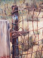 Fence Post - Oil on Canvas by ralphael50