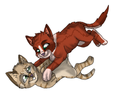 Strippedpaw and Rosepaw by PenelopeLynn