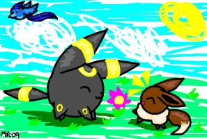 Eevee and Umbreon Blobs by MephilesTheCute09