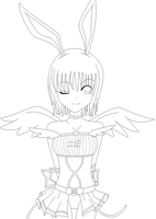 Bunny Angel Lineart by blackstar-shine