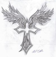 Tribal Wings + cross by mullen1200