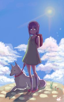 girl with her dog by Evangeline974