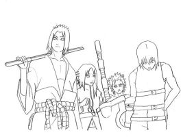 Team Hebi raw lineart by sharingandevil