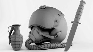 3D Military Stuff-Pilot Helmet,Grenade,USMC. Clay by cytherina