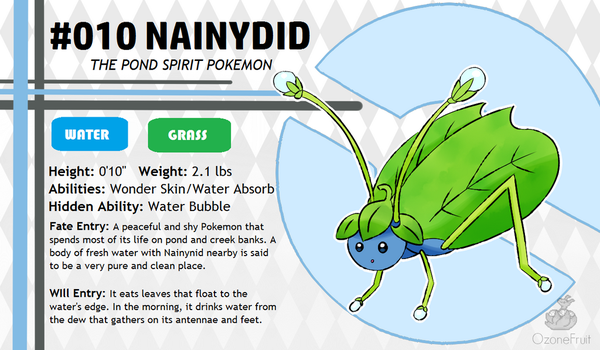 Pokemon Fate and Will Dex #010: Nainydid by OzoneFruit